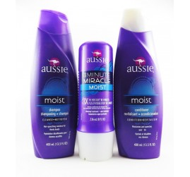 Kit Completo Aussie - Shampoo + Condicionador + Aussie 3 Minute Miracle Moist