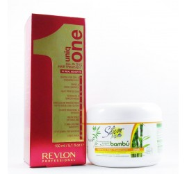 Kit Revlon Professional Uniq One Leave-In 150ml+ Máscara Silicon Mix Bambú 225gr